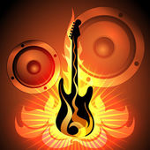 Music theme with flaming guitar — Vetorial Stock