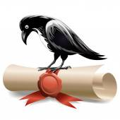 Black raven and diploma — Stock Vector