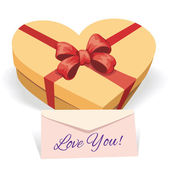 Valentines day concept illustration with gift box — Stock Vector