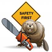 Beaver with a chainsaw — Stock Vector