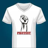 V neck Shirt Template with Protest Fist — Stock Vector