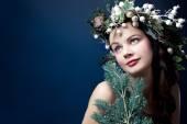 Christmas beauty woman.Holyday make up . False eyelashes,art chr — Stock Photo