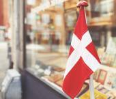 Danish flag in the showcase  — Stock Photo