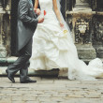 Wedding couple having fun — Stock Photo #53928631