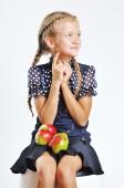Happy little girl playing around. — Stock Photo