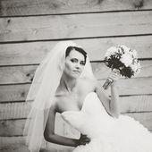 Beautiful caucasian brunette bride . — Stock Photo