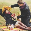 Great relationship. Young sweet couple having date in autumn park. — Stock Photo #54170449