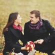 Great relationship. Young sweet couple having date in autumn park. — Stock Photo #54170499