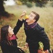 Young sweet couple having date in autumn park. — Stock Photo #54170549
