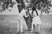 Wedding couple having fun  — Stock Photo