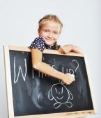 Souriant écolière mignon dessin. — Photo