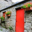 Old stone house with red door — Stock Photo #56093179