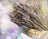 Dried lavender for sale in transparent  bags. — Stock Photo