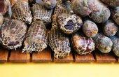 Corsican sausage at food market — Stock Photo