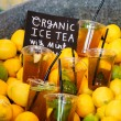 Fresh cold tea with lime for sale — Stock Photo #74010047