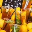 Fresh cold tea with lime for sale — Stock Photo #74011599