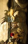 Romantic mask with rose during the Carnival. — Stock Photo