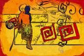 African motive ethnic retro vintage — Stockfoto