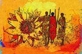 African motive ethnic retro vintage — Stock Photo
