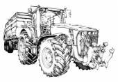 Zemědělský traktor ilustrace umění kreslení — Stock fotografie