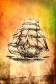 手工制作的仿古船海动机绘图 — 图库照片