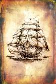 Antique boat sea motive drawing handmade — Stock Photo