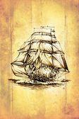 Antyczne łódź morze motywacja rysunek ręcznie — Zdjęcie stockowe