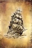 Antique boat sea motive drawing handmade — Stock Photo