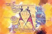 Afrikanska motiv konst — Stockfoto