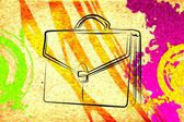Briefcase art illustration — Stock Photo
