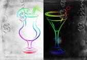 Set of alcoholic cocktails illustration — Stockfoto