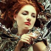 Arty portrait of sad fashionable queen-like red-haired (ginger)  — Stock Photo
