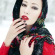 Winter fashion concept. Portrait of young woman in red cardigan  — Stock Photo #52290981