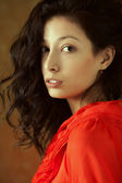 Spanish beauty named Esmeralda. Emotive portrait of fashionable  — Stockfoto