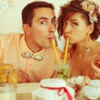 Portrait of beautiful married couple of hipsters in trendy cloth — Stock Photo #55819157