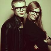 Eyewear & hipster squad concept. Portrait of red-haired twins in — Stock Photo