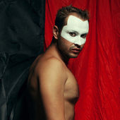 Backstage concept. Arty portrait of shirtless circus performer p — Stock Photo