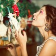 Christmas shopping concept. Emotive portrait of happy beautiful — Stock Photo #60013815