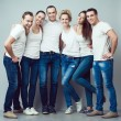Happy together concept. Group portrait of healthy boys and girls — Stock Photo #61686865