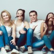 Happy together concept. Group portrait of healthy boys and girls — Stock Photo #61686885