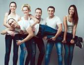 Happy together concept. Group portrait of healthy boys and girls — Stock Photo