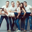 Happy together concept. Group portrait of healthy boys and girls — Stock Photo #64401543