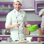 Tiramisu cooking concept. Portrait of two smiling men in cook un — Stock Photo #64544109