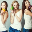 Happy veggies concept. Group portrait of healthy young women in  — Stock Photo #67304919