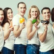 Happy veggies concept. Group portrait of healthy boys and girls — Stock Photo #67304927