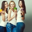 Happy veggies concept. Group portrait of healthy young women in  — Stock Photo #67469939