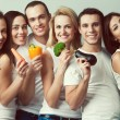 Happy veggies concept. Group portrait of healthy boys and girls  — Stock Photo #72712769