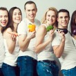 Happy veggies concept. Group portrait of healthy boys and girls — Stock Photo #76588005