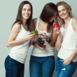 Raw, living food, veggie concept. Portrait of three happy young woman — Stock Photo #77376546