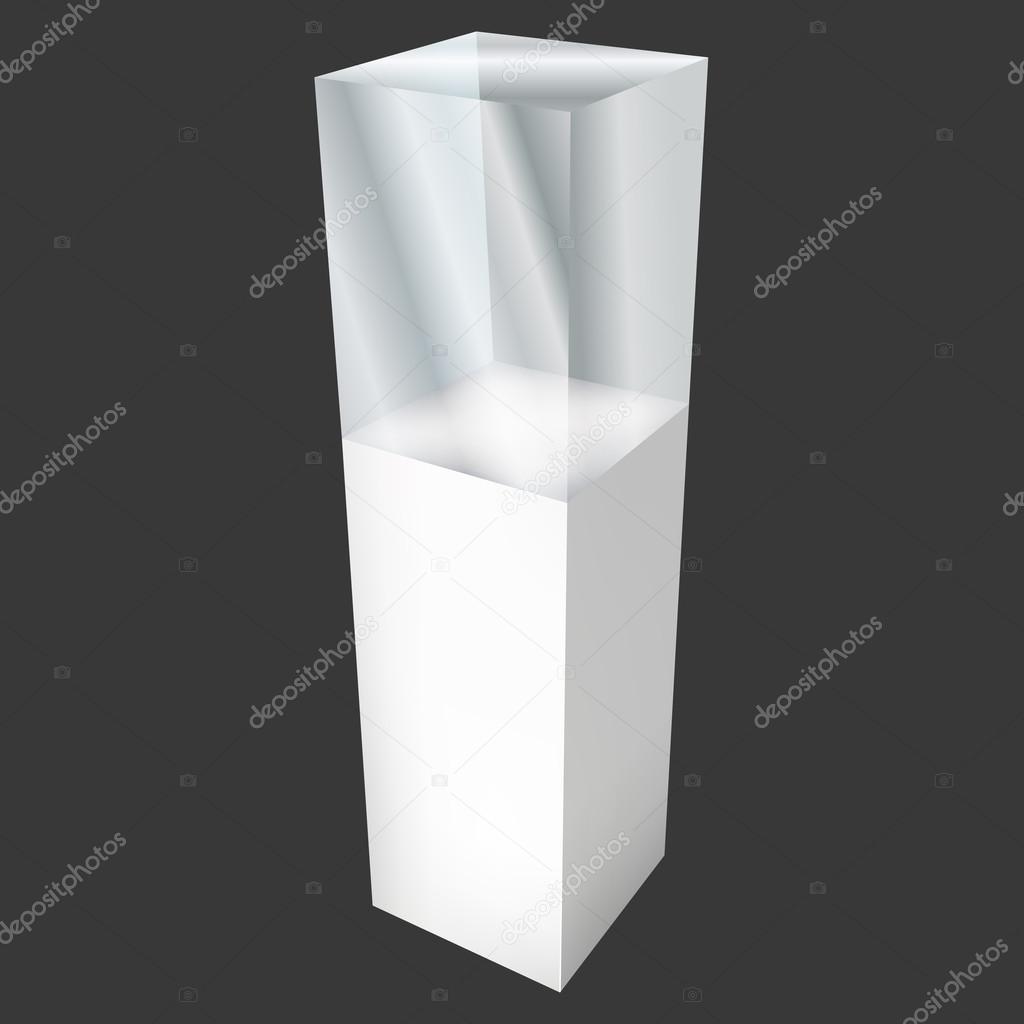 Tomma glas skyltfönster för utställning. 3d vektor — stock vektor ...